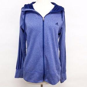 adidas | 3-stripe full zip-up hoodie sz L